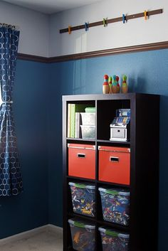 boy bedrooms, boy rooms, paint, accent colors, lego storage, kid room, toy storage, high chairs, artwork