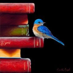 bird paintings, bluebirds, oil paintings, books, book worms, bird art, artist, camill engel, blues