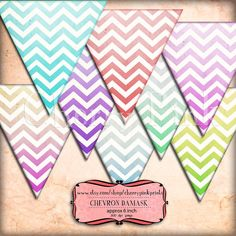 OMBRE CHEVRON BUNTING digital collage sheet printable bunting download for scrapbooking, party printables and graphic design.. $5.00, via Etsy.