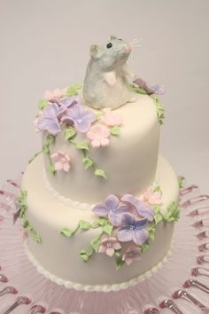 """hamster cake tiered cake 4"""" 6"""" love the flowers"""