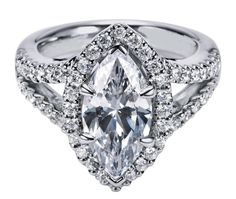 Engagement Ring - Marquise Diamond Engagement Ring Halo Double band in 14K White Gold