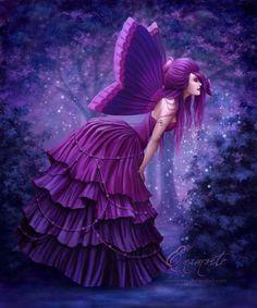 fantasi, inspiration, fairies, butterflies, purple, color, art, violets, purpl fairi