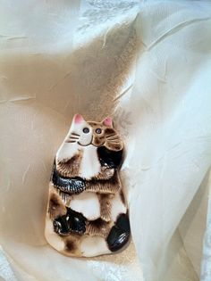 DARLING Calico Cat Brooch Vintage Estate by NorthCoastCottage, $25.00