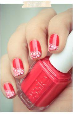 I really like the daisy stamping nail art on the tips