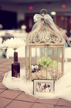 @Alison Carpenter - birdcage table centerpiece with Tule