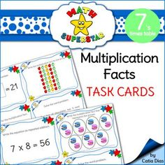 Multiplication Facts Task Cards - 7s times table from Catia Dias on TeachersNotebook.com -  (29 pages)  - This resource was designed to provide your students with plenty of practice with multiplication facts. The focus of this product is on the 7's times tables.