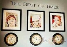 Adorable! Pictures of your kids with clocks underneath them stopped on the time they were born