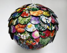 paper #lantern covered with cutouts from magazine pages