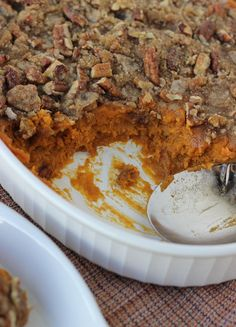 Sweet Potato Casserole with Pecan Praline Topping {Dairy-Free, Gluten-Free} | Meaningful Eats
