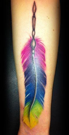Colourful Feather Tattoo