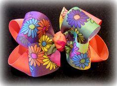 Vibrant Coral Retro Daisy Flower Fabulous by MyBellaBellaBowtique, $5.99