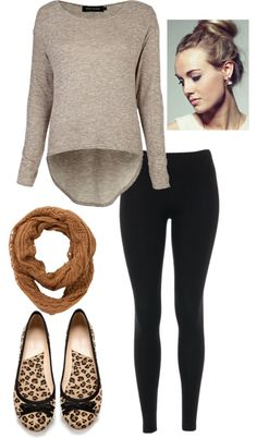 """""""Simple Fall Outfit with Leopard Flats"""".... Now to find some leopard flats!"""