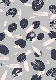 leaves pattern, bw blue, grey leav
