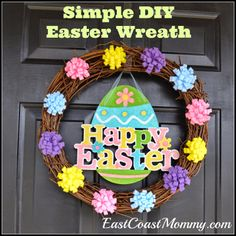 DIY Easter Wreath... super-cute and really easy and inexpensive to make.