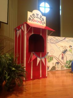Colossal coaster vbs! Ticket booth. Made from refrigerator box and duct tape