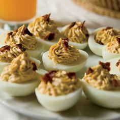 Chipotle Bacon Deviled Eggs Recipe egg recipes, chipotl bacon, appetizer recipes, bacon devil, food, chipotle, appetizers, deviled eggs, devil egg
