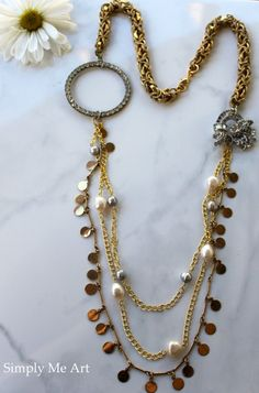 Vintage Rhinestone Pearl and Brass Asymmetrical One by simplymeart, $75.00