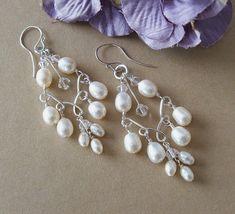 Handwired Bridal Chandelier Earrings Silver by BridalDiamantes, $35.00