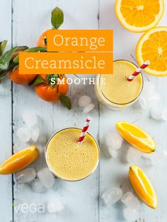 Orange Creamsicle Smoothie: With all the flavor of creamsicles that you remember, these plant-based frozen treats are nutrient dense and guilt-free… Which means you can have more than one! #VegaSmoothie #BestSmoothie