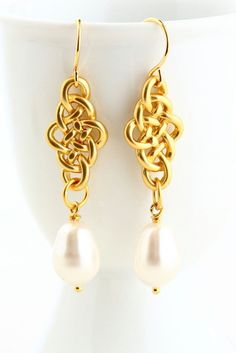 Pearl Earrings Gold Earrings Wedding Jewelry