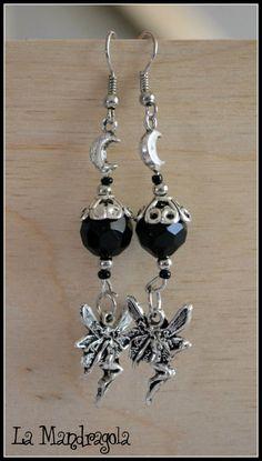 $7.90 #etsy #handmade #earrings #fairy #moon #black #charm #crystal #silver