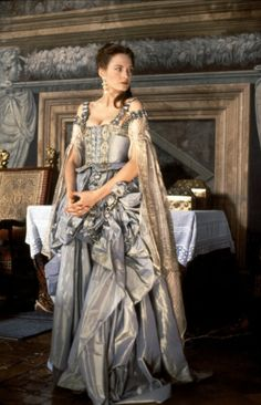 """Costume from Dangerous Beauty. The courtesans' costumes were designed to showcase Veronica and her cohorts' differences from """"proper"""" female characters in the film. Venetian fashion at the time made no distinction to indicate a lady's social status, meaning that most of the courtesans were probably more well-dressed and discreet than their married counterparts."""