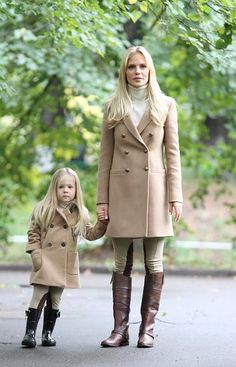 Stylish mom and daughter