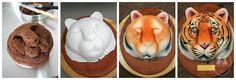Tiger cake by Mionette Cakes cake tutori, air brush cake, cake idea, cakes, tiger cake, cake decor, 3d cake, tigers, anim cake