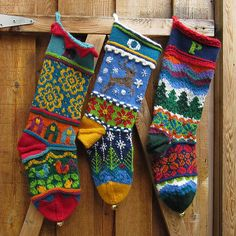 Colorful knitted Christmas stockings