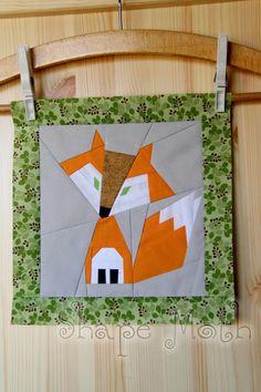 fox paper pieced quilt block pattern