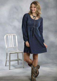 Roper® Blue Indigo Denim Empire Waist Western Dress