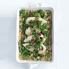 Quinoa Roasted Chicken with Olive Gremolata | MyRecipes.com #myplate #protein #grain #vegetable #onedishmeal