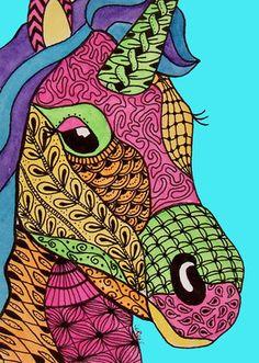 ACEO LE Print Unicorn Horse Doodle Fantasy Pony Animal Zentangle LaRusc | eBay