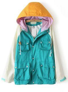 Green Contrast Hooded Long Sleeve Pockets Coat