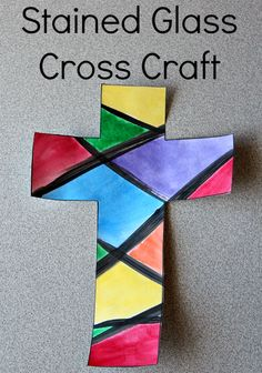 Easy stained glass cross craft.  Perfect for Easter!