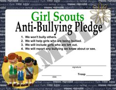 Girl Scouts Anti Bullying Pledge - part of the making friends patch?