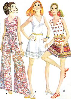 Cool 1960s Womens Jumpsuit Pattern Simplicity 7909 Womens Funnel Neck