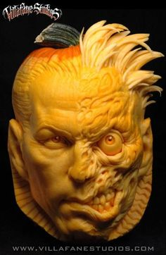 Two-Face Pumpkin Carving created by Villafane Studios