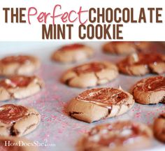 The PERFECT Chocolate Mint Cookie! My family goes crazy when I make these...they are sooo good! #mintcookie #chocolatemint Recipe at HowDoesShe.com