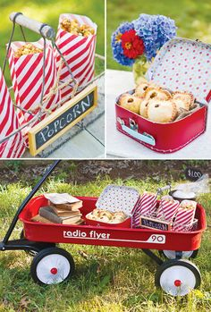 red stuff, party themes, school parties, school bake, bake sale ideas, red wagon, bake parti, vintage style, back to school