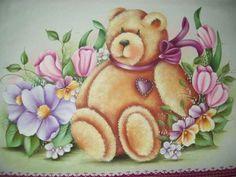Pintura em Tecido Passo a Passo: Urso com flores pintura em tecido