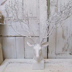 White deer head with Manzanita branches by AnitaSperoDesign, $260.00
