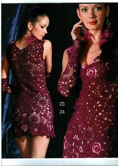 Burgundy crochet motif dress baby ♥LCD♥ with diagrams