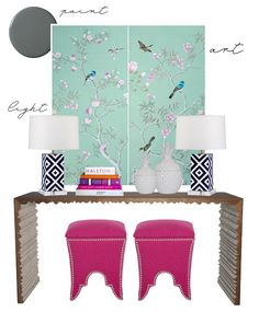 Colorful Console Styling mixing styles, colors & patterns.
