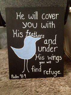 Bird Bible Verse Painting Psalm 914 16x20 by WaikikiPaintings, $19.99