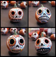 Day of the Dead Pumpkin Heads by ~FlyingSaucerTeacup on deviantART