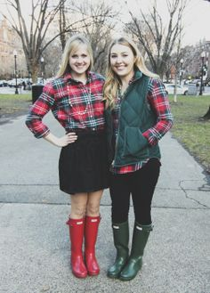 hunter green red boots, green plaid, red green, green hunter boots