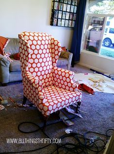 Upholstery Tips decor, polka dots, wing chairs, chair redo, hous, chair upholstery, old chairs, diy, wingback chairs