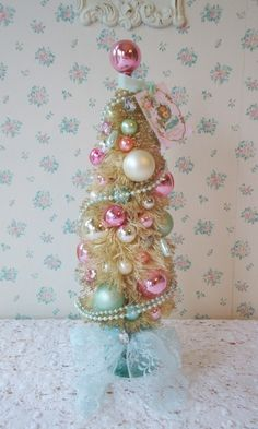 Shabby Bottle Brush Tree - Pink roses and Aqua