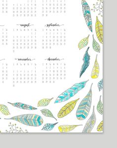 Printable Feather Calendar 2014 Calendar 11x17 by alexazdesign